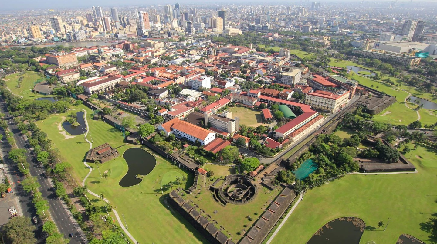 Aerial view of the Walled City of Intramuros