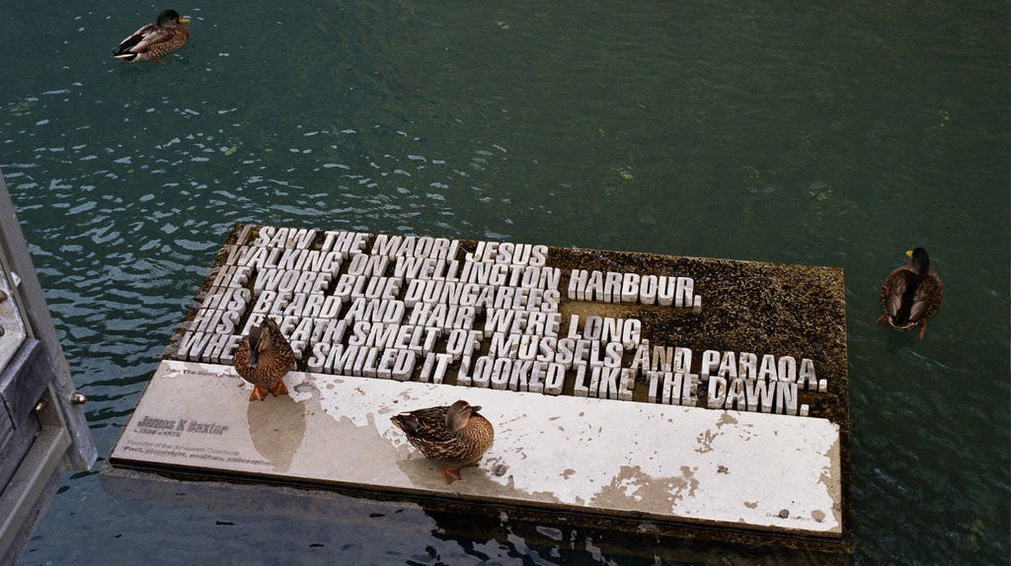 Art installation on the Wellington waterfront showcasing James K Baxter's poetry