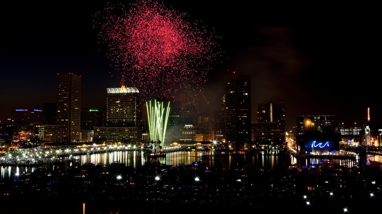 Fireworks over the Inner Harbor, Baltimore