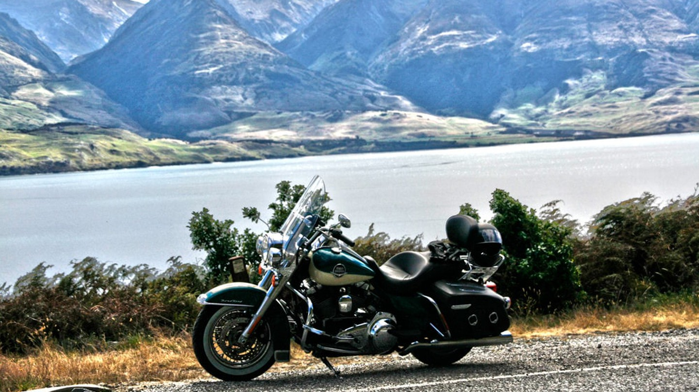 A Harley-Davidson motorbike in New Zealand