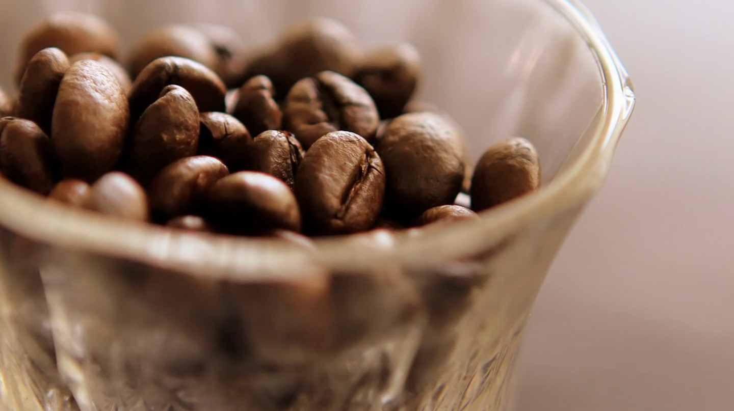A cup of coffee beans wait to become a drink