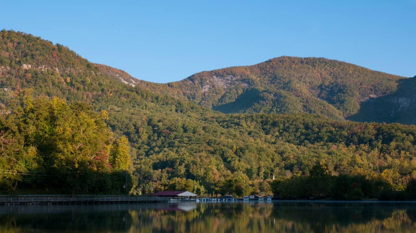 Fall colors on the water at Lake Lure in Western North Carolina
