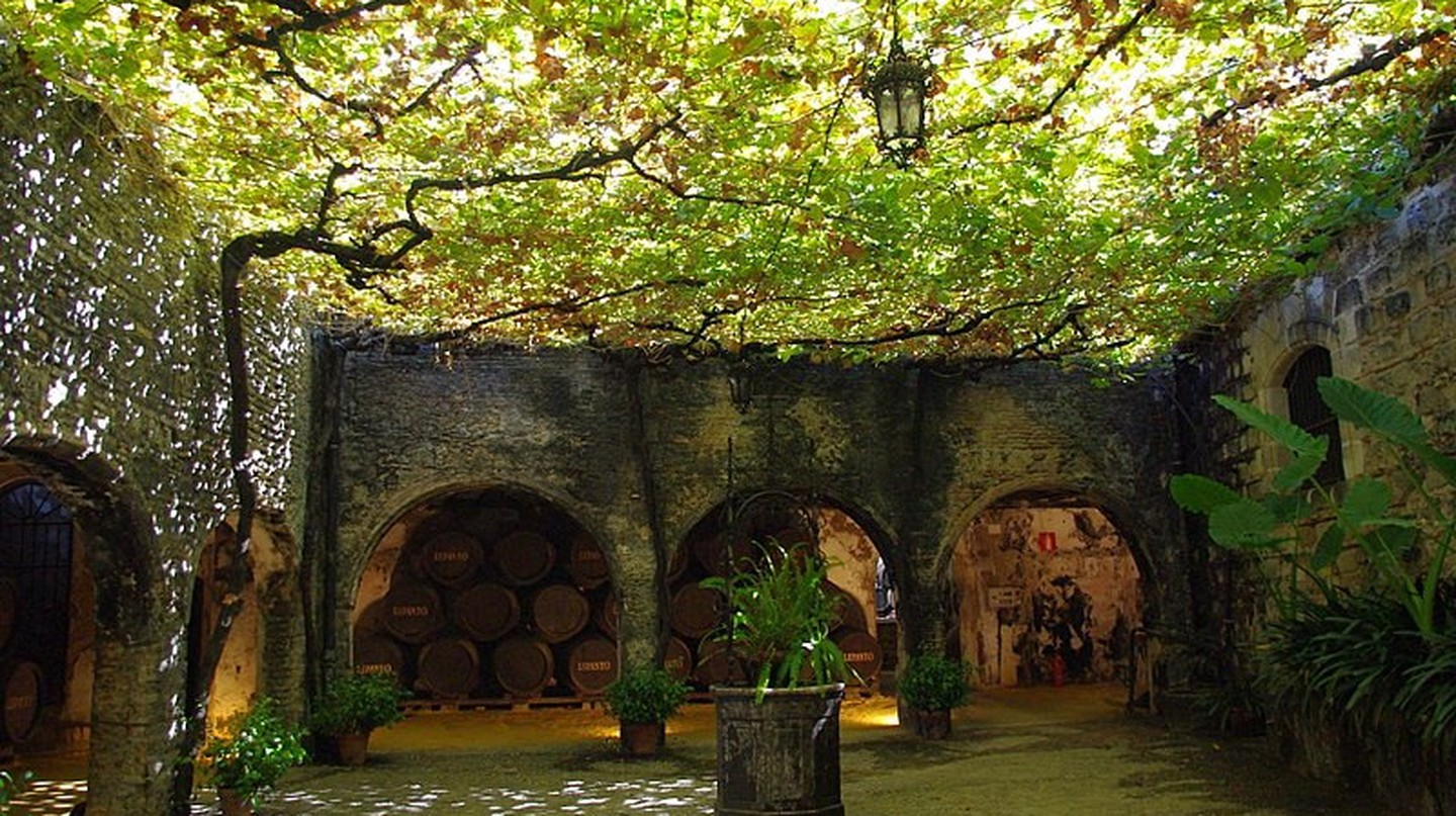 A patio in the Tio Pepe Bodegas in Jerez de la Frontera, Spain