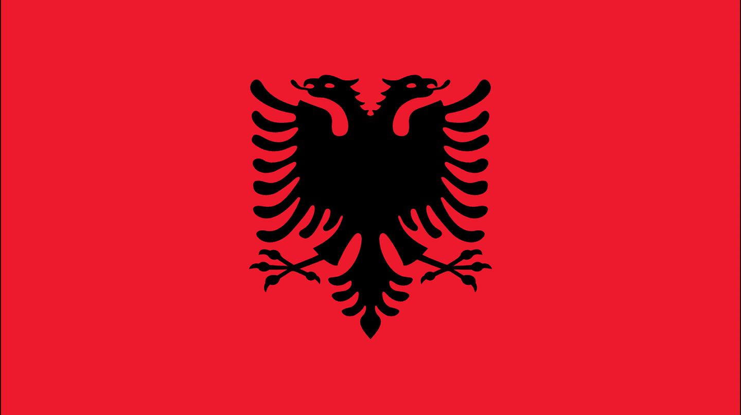 The Albanian flag with the double headed eagle