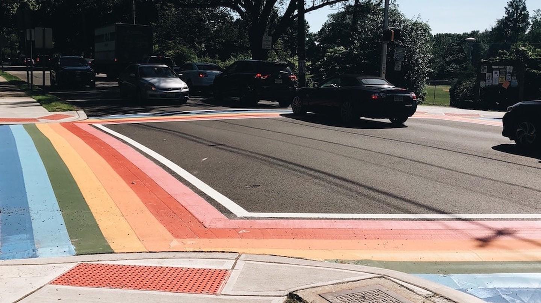 The rainbow crosswalks in Maplewood, NJ
