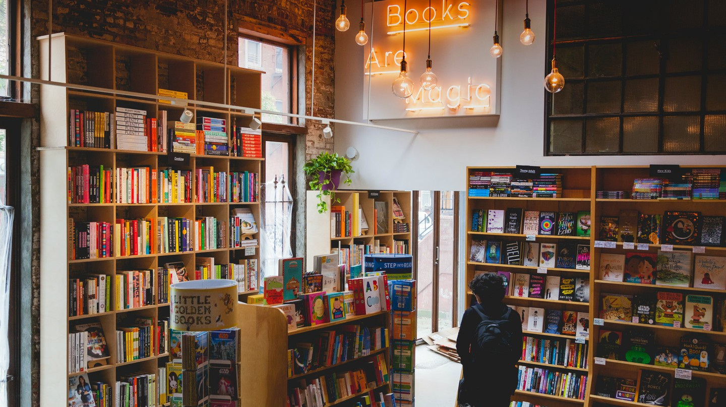 Books Are Magic delights in filling every corner with books.