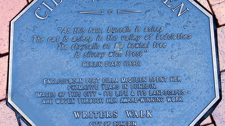Plaque dedicated to Cilla McQueen's poetry in Dunedin, New Zealand