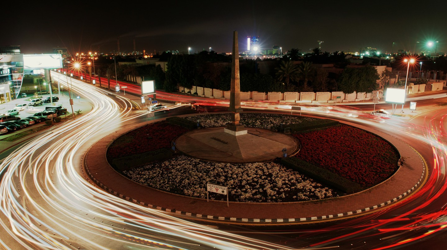The Sword Roundabout in Tahlia, Jeddah, at night