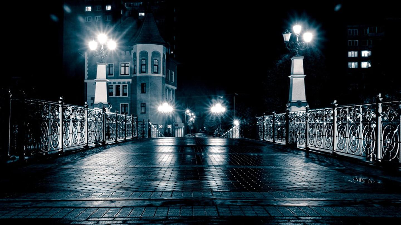 Kaliningrad bridge at night