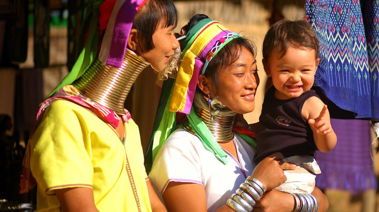 Kayan women in northern Thailand wear brass coils on their necks