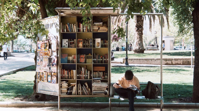 A man reading in Parque Forestal, Santiago de Chile
