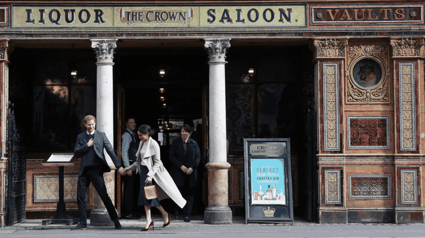 Prince Harry and Meghan Markle after some libations at The Crown Liquor Saloon in Belfast