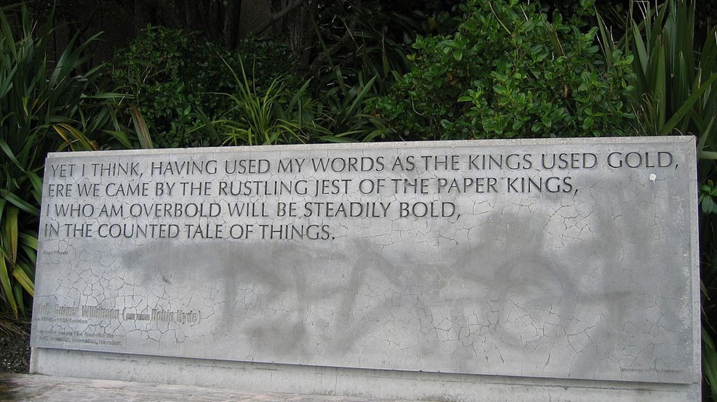 Concrete sculpture of Robin Hyde's words in Wellington, New Zealand