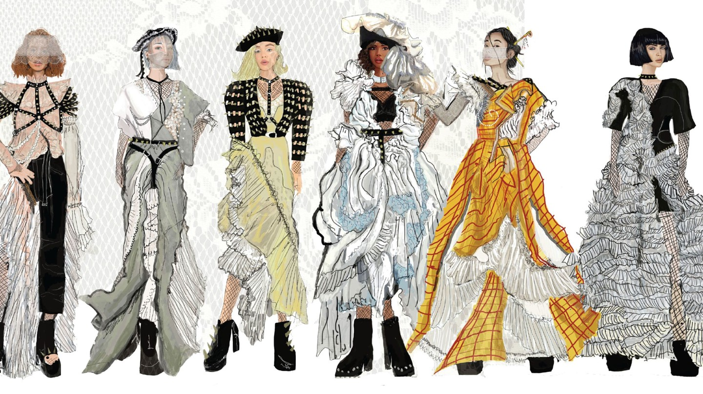 Sarah Seb, Fashion Design graduate sketches, final collection, June 2018