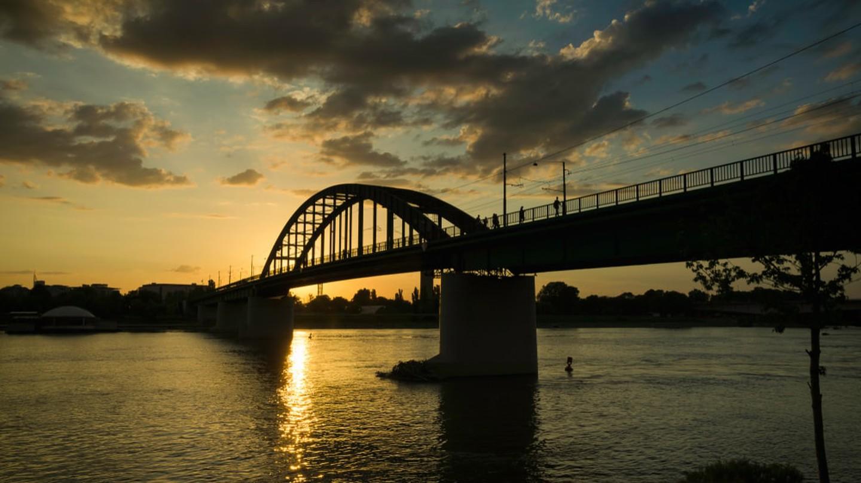 Old railway bridge in Belgrade, Serbia