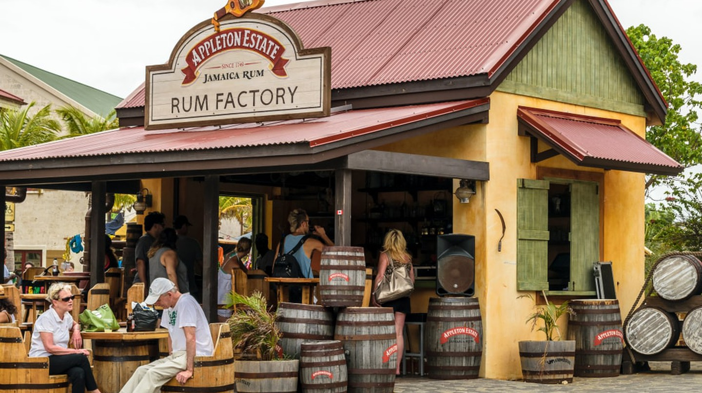 Tourists at the Appleton Estate Rum Factory store inside the Falmouth Cruise Port, Jamaica