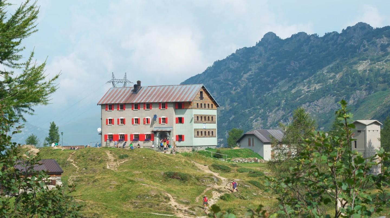 Rifugio Laghi Gemelli in the Bergamo Alps, Lombardy, Northern Italy