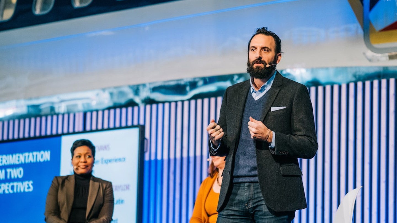 Michael Ventura at a speaking engagement