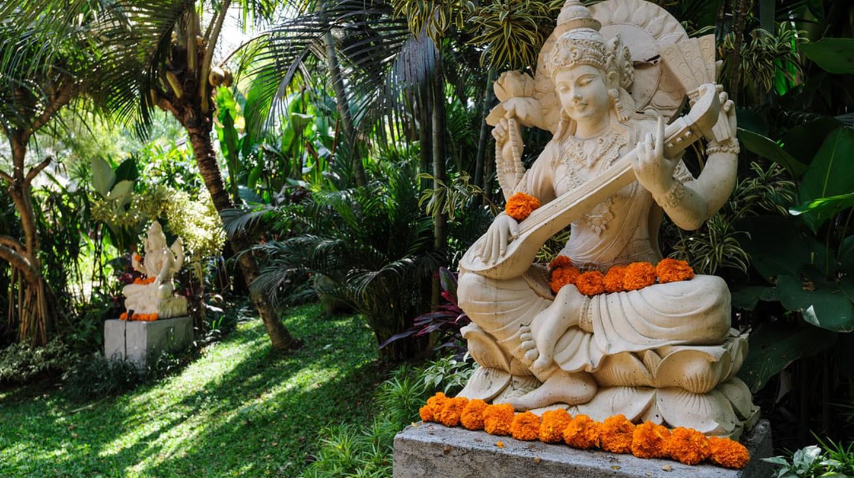 The garden at The Yoga Barn, in Ubud, Bali.