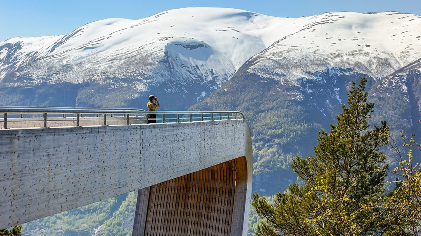 The Stegastein viewing tower in Aurlandsfjellet, designed by Todd Saunders