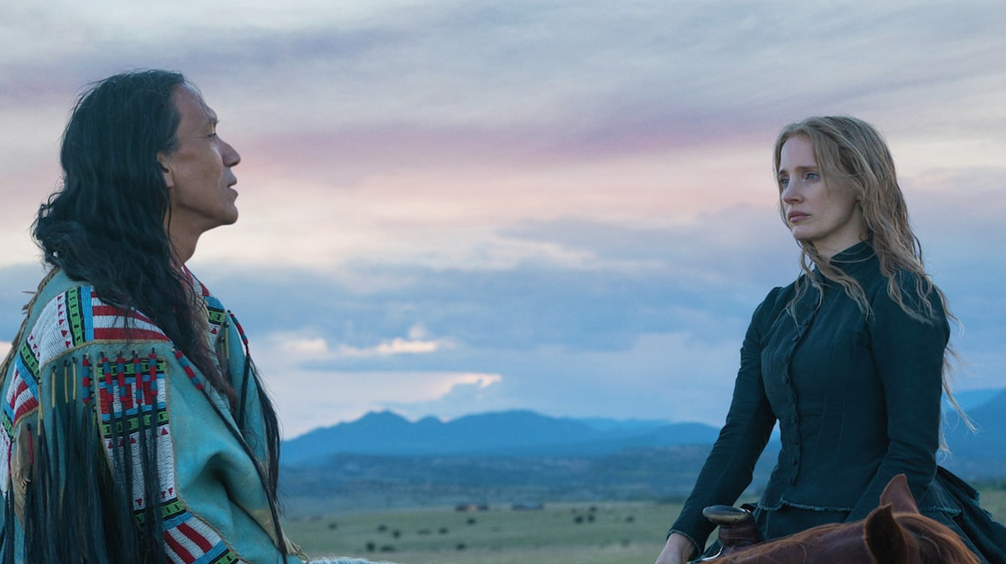 Michael Greyeyes and Jessica Chastain in 'Woman Walks Ahead'