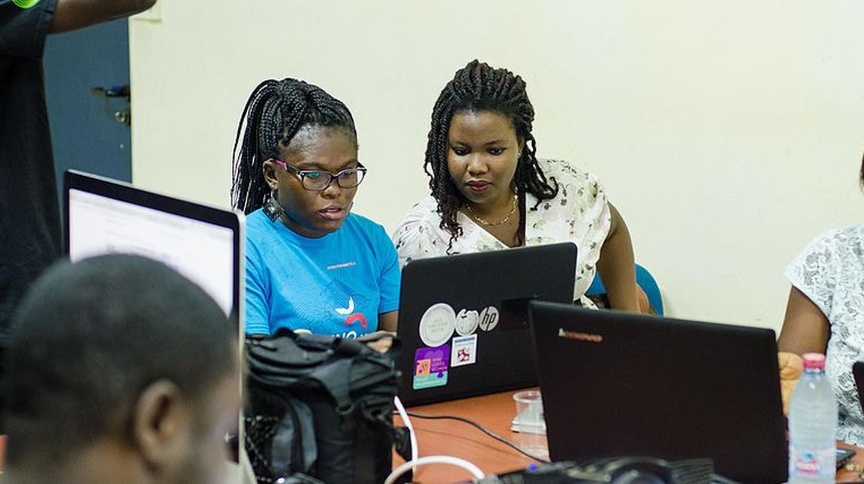 Women coders in training