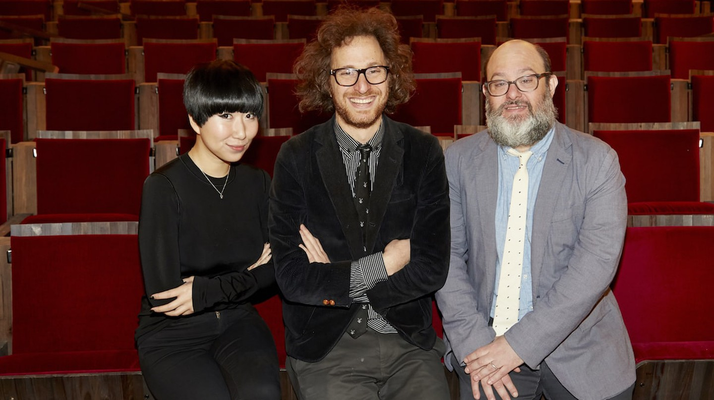 Metrograph's programmers Aliza Ma and Jacob Perlin flank founder Alexander Olch