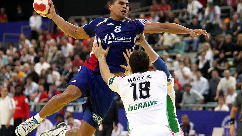 France against Hungary in the European Men's Handball Championship