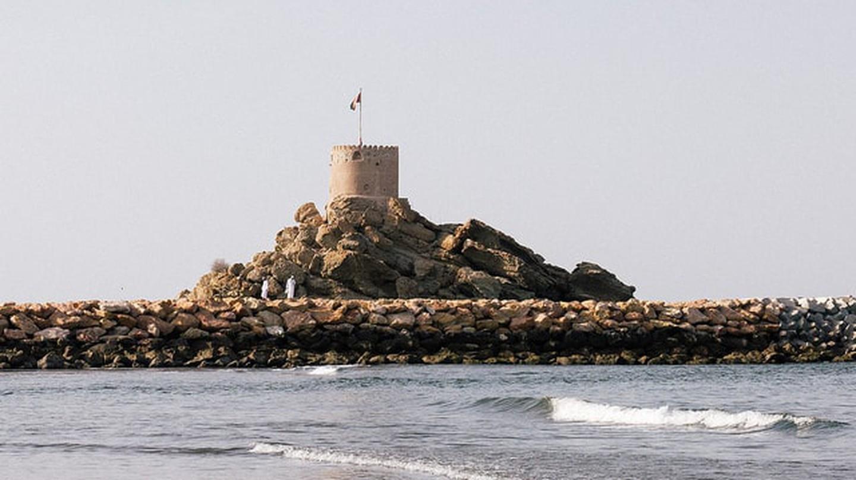 Al Sahel Fort looking over the sea in Quriyat, Oman