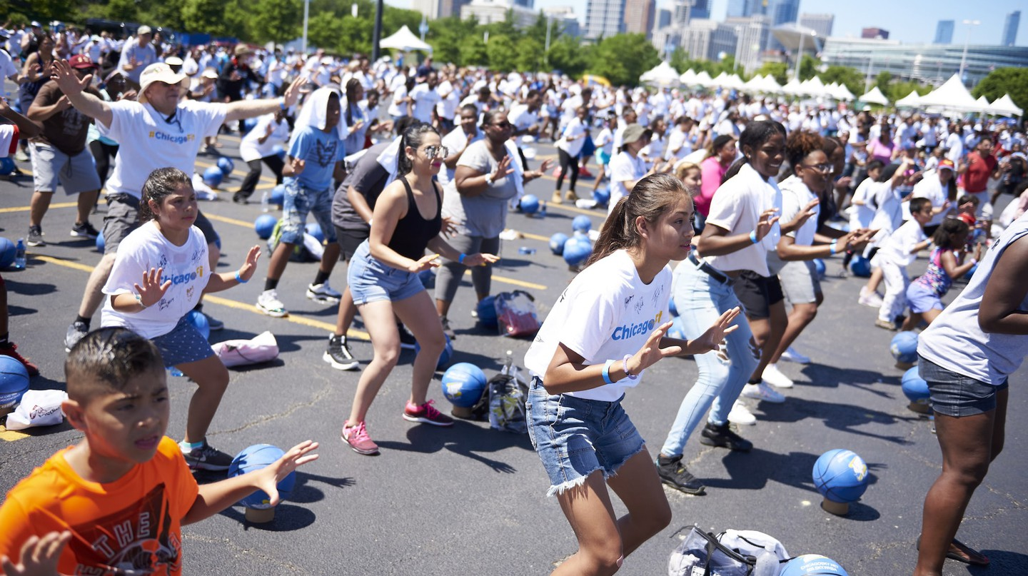 The inaugural Chicago Fit Health and Fitness Festival took place at the Soldier Field South Parking Lot on Sunday, July 8, 2018, in Chicago.