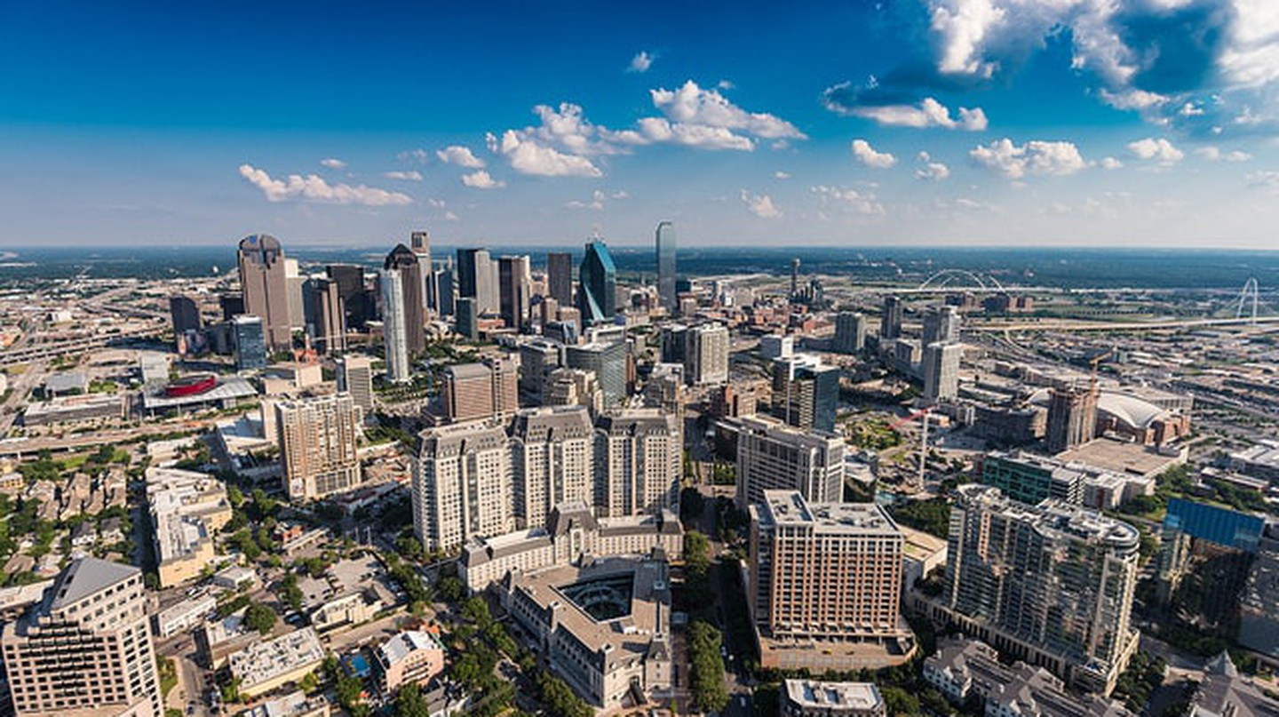 This aerial view shows Uptown, Downtown, and West Dallas
