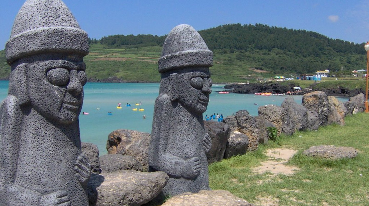 Dol Hareubang statues on Jeju Island, South Korea