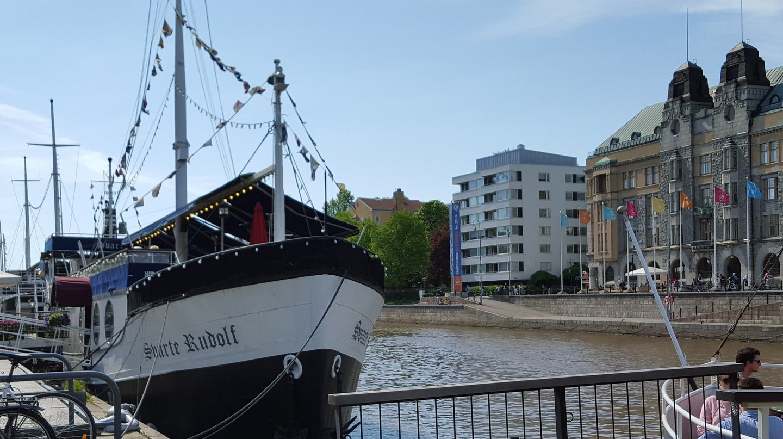 Svarte Rudolf Restaurant Boat docked in Turku
