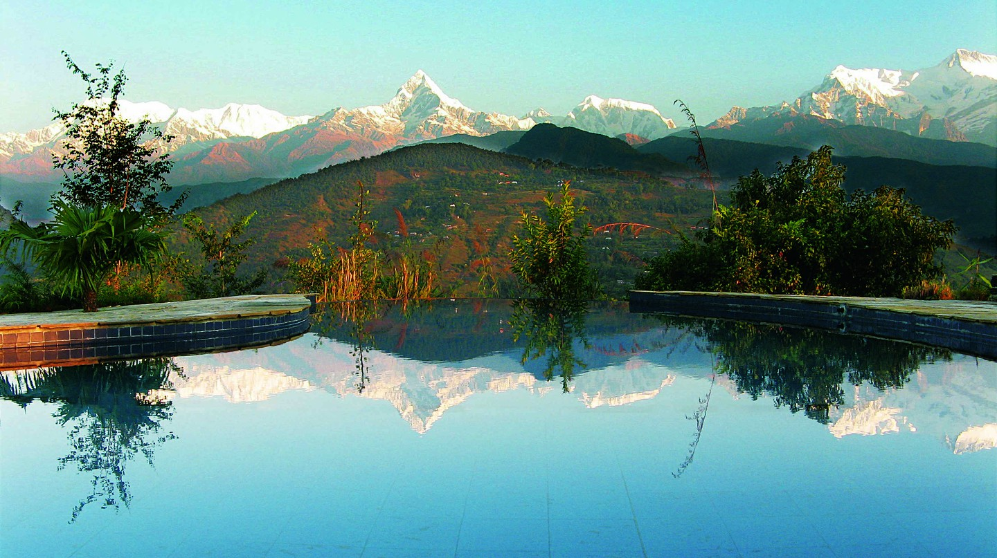 A pool with a view at Tiger Mountain Lodge
