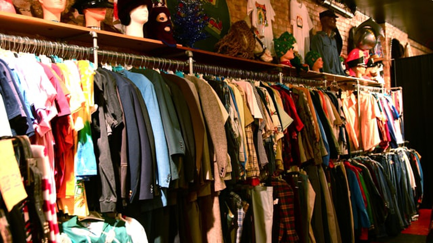 Clothes hanging in a vintage shop