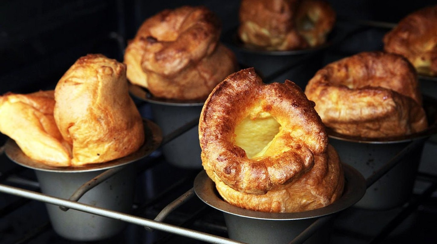 The Yorkshire pudding used to be served as one large, rather flat slab, but nowadays individual pudds are more common