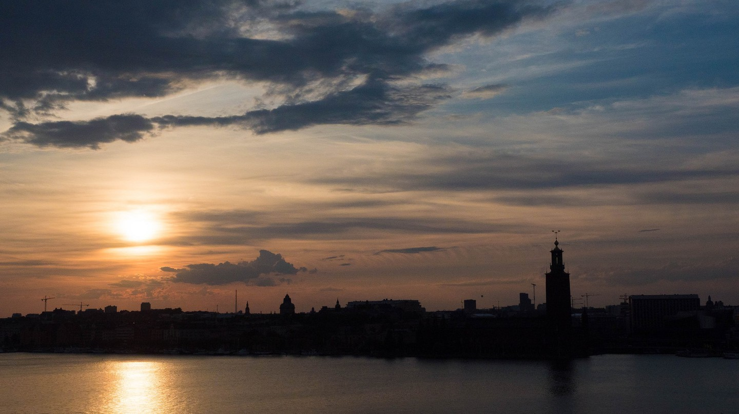 Sunset over Riddarholmen in Stockholm