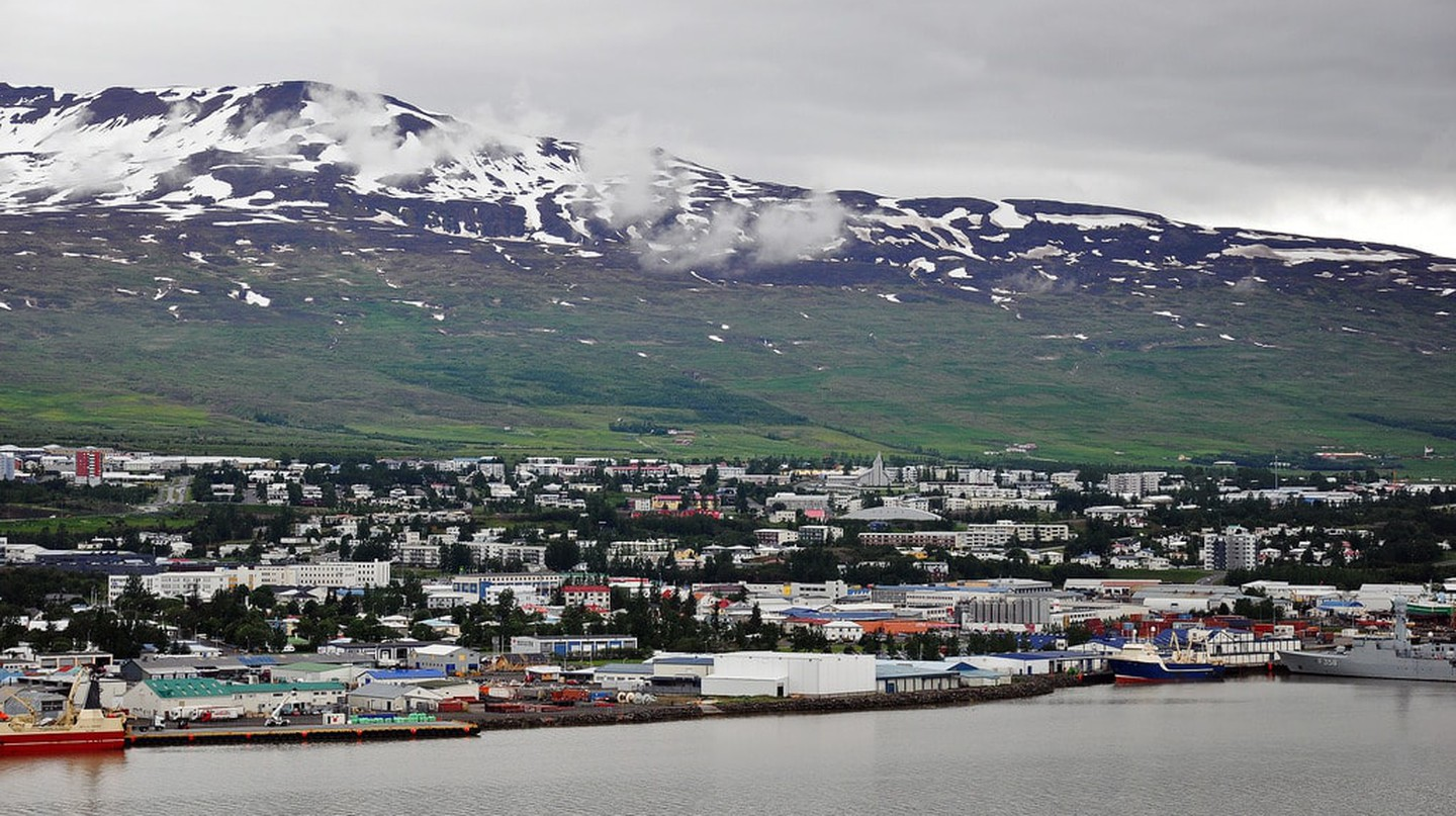 View of Akureyri from across Eyjafjordur