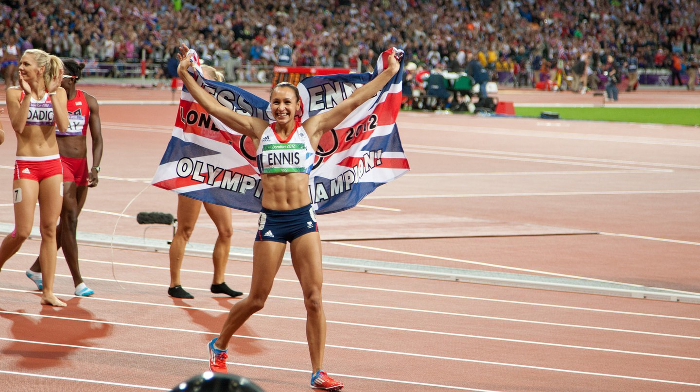 Jess Ennis (now Jess Ennis-Hill) after winning gold at the 2012 Olympics