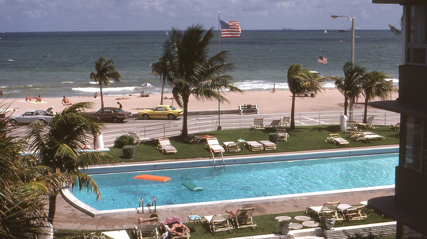 Peering from a window of a Fort Lauderdale Motel in Florida 1980.