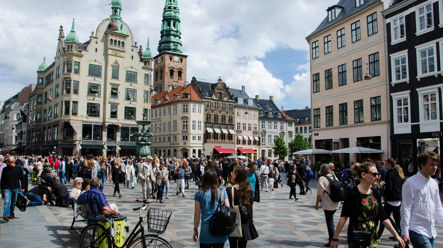 Strøget in Denmark on a sunny day