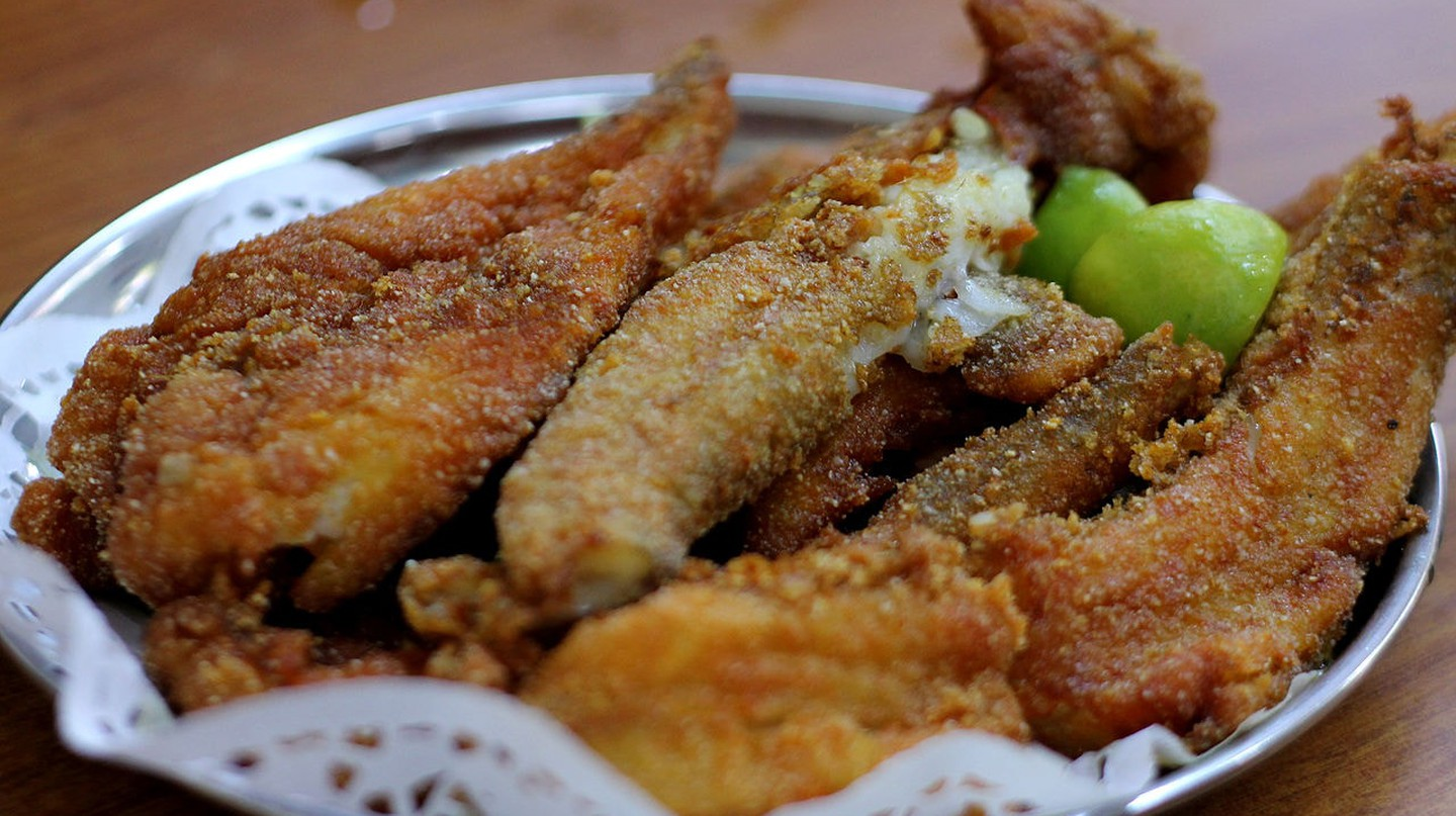 Fried Bombay Duck, or Bombil, is a speciality dish in Mumbai pioneered by iconic eateries, such as Britannia & Co.