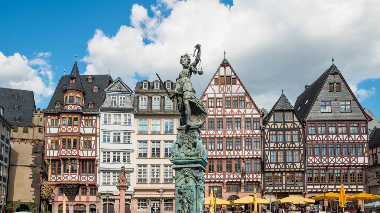 Old town with the Justitia statue in Frankfurt, Germany.