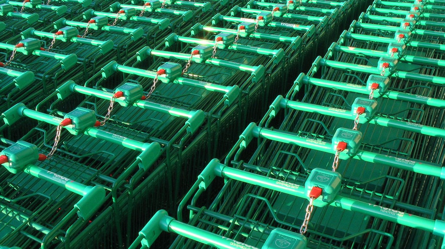 Green shopping trolleys