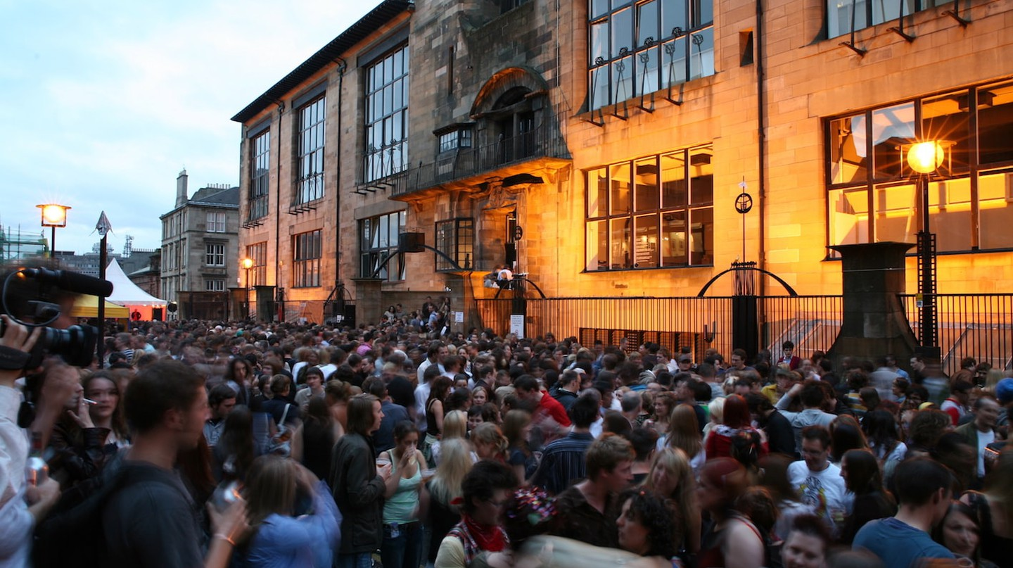 A degree show party outside The Mack