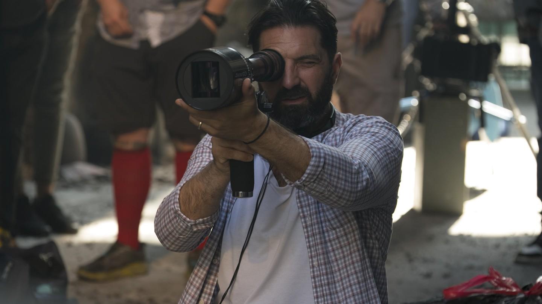 Drew Pearce on the set of Hotel Artemis