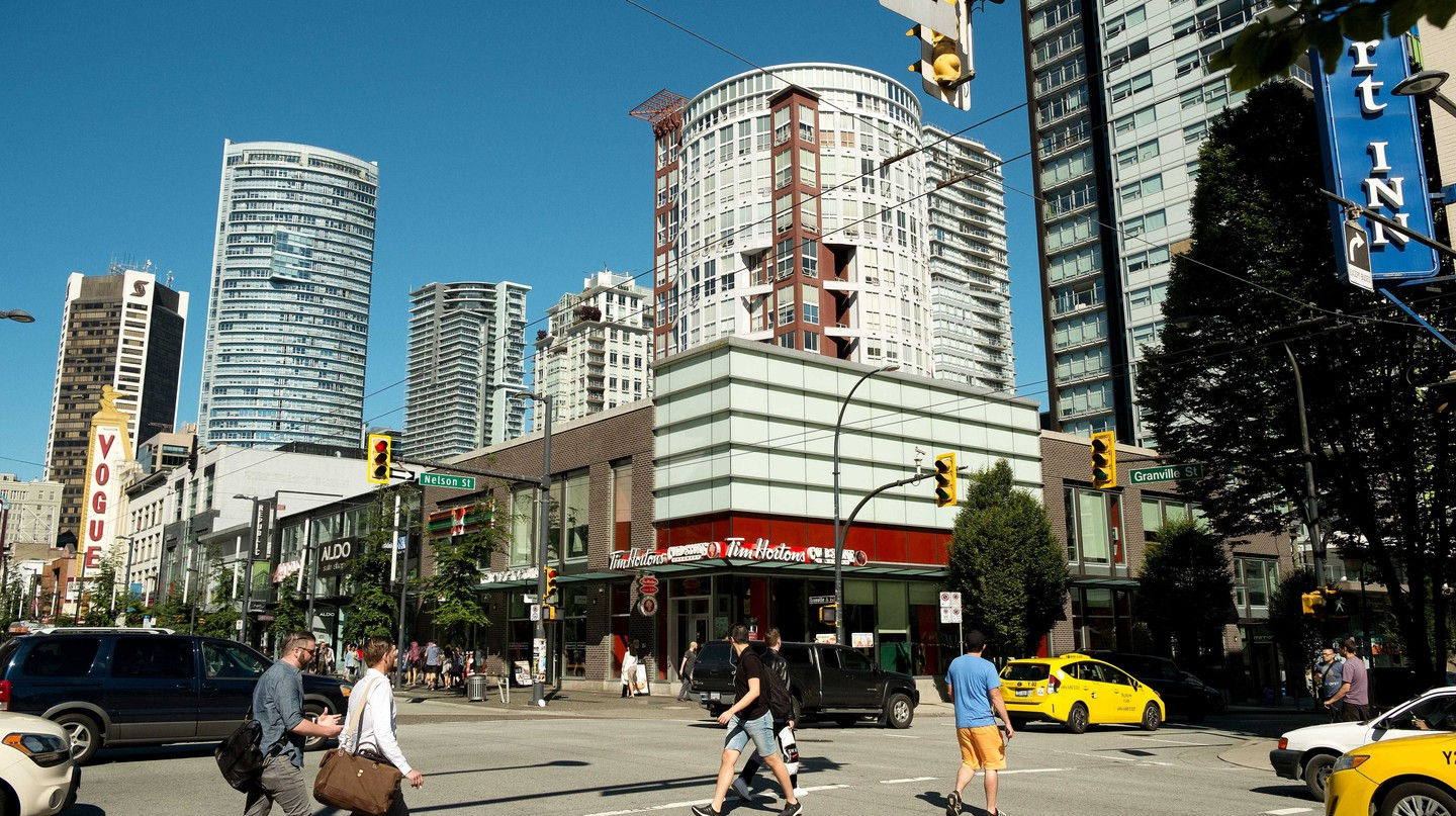 The corner of Nelson and Granville streets in the Yaletown neighbourhood of downtown Vancouver BC, Canada