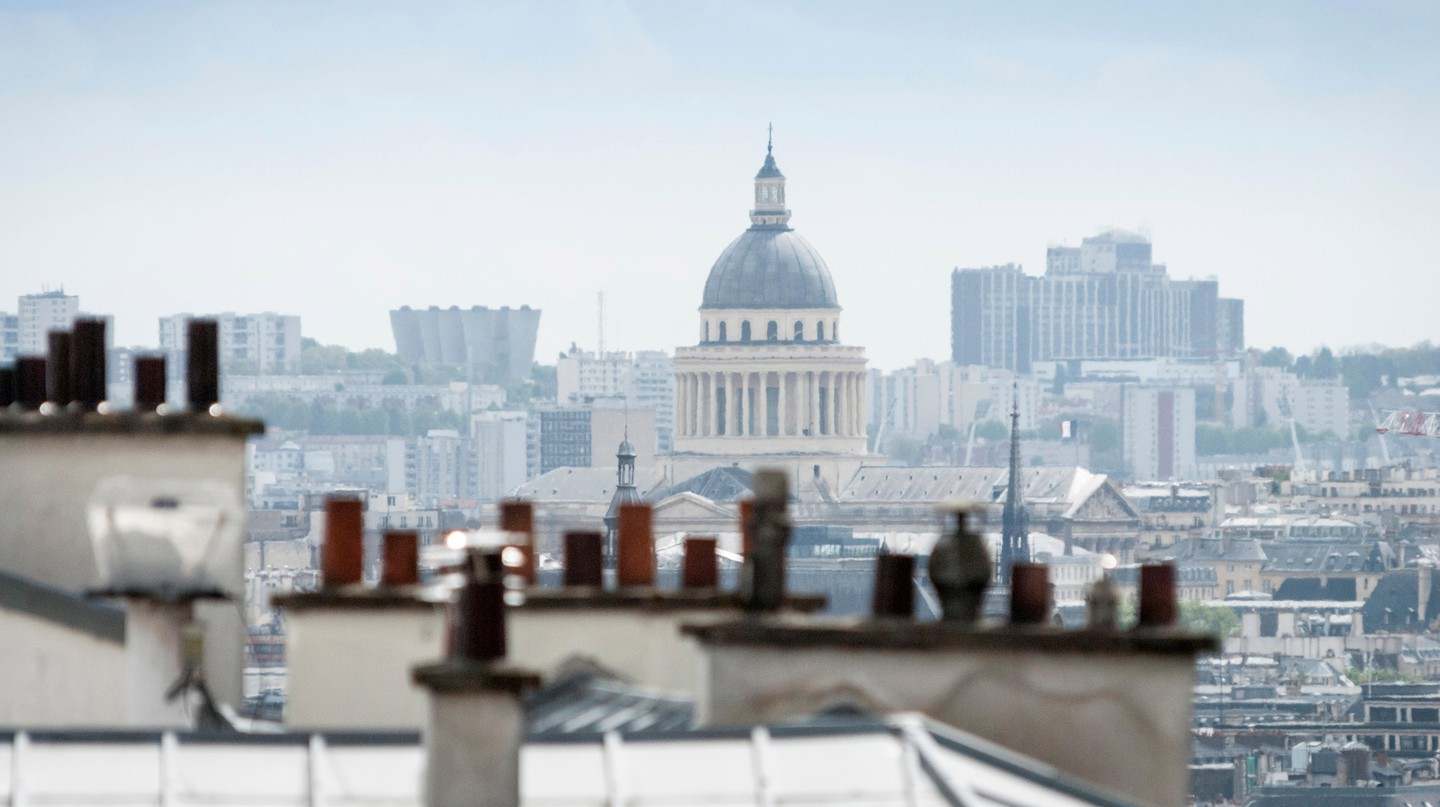 Paris rooftops and the cupola of Pantheon