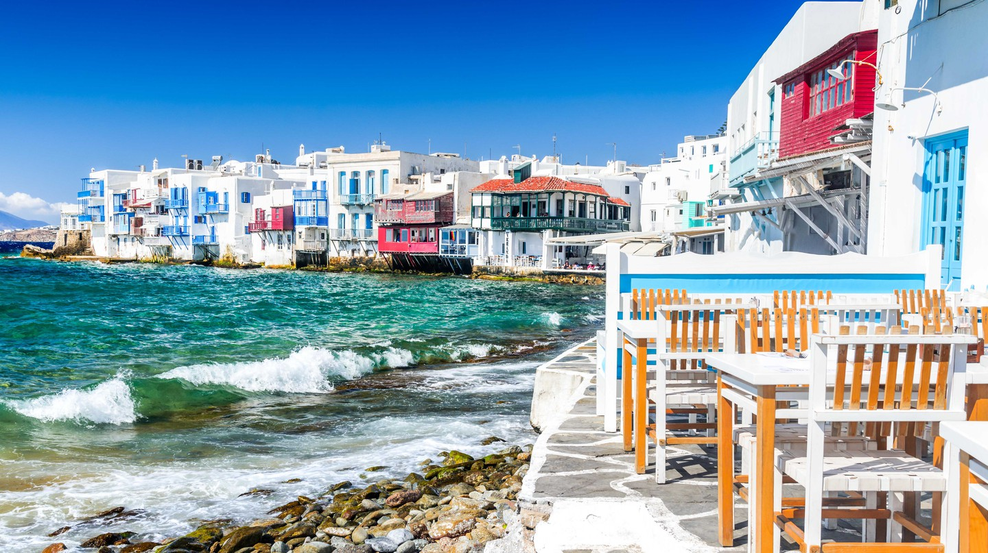 Little Venice waterfront houses, Mykonos, Greece.