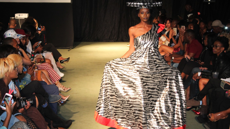 One of McBright Kavari's modernized Herero dresses as showcased at Windhoek Fashion Week 2017